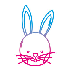 degraded line cute rabbit head wild animal