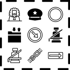 Simple 9 icon set of law related seat belt, seat belt, traffic sign and police cap vector icons. Collection Illustration
