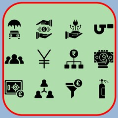 Simple 12 icon set of business related extinguisher, micrometer, funnel and money vector icons. Collection Illustration