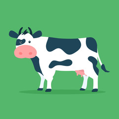 Cute cow isolated on green background. Vector illustration in cartoon flat design style.