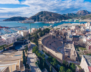 Panorama of the Spanish city of Cartagena. Aerial view.