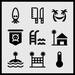 Simple 9 set of Summer related beach house, palm trees hammock, swimming pool and stair and island vector icons