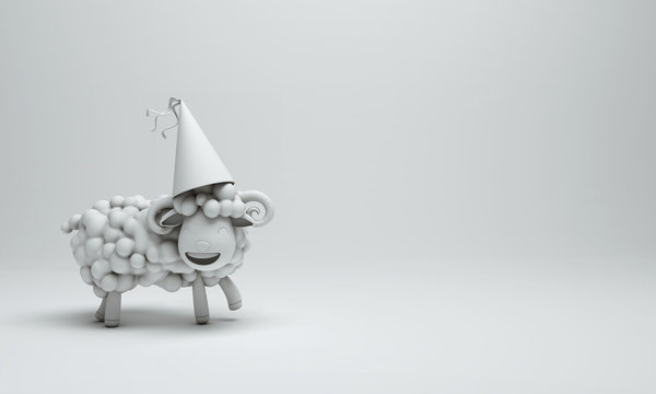 White cute cartoon sheep smile wearing party hat. Design creative concept of islamic celebration eid adha or happy birthday. Copy space text. 3d rendering illustration.