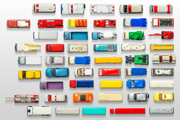 Car toy diecast on the white background , Top view .  (clipping path)