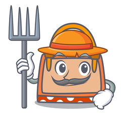 Farmer hand bag character cartoon