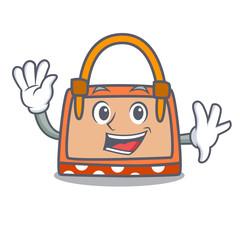 Waving hand bag character cartoon