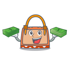 With money hand bag mascot cartoon