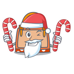 Santa with candy hand bag mascot cartoon