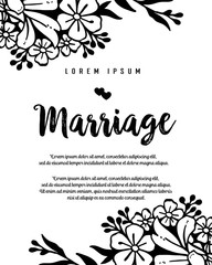 Marriage card or invitation with abstract floral background vector illustration