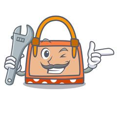 Mechanic hand bag mascot cartoon