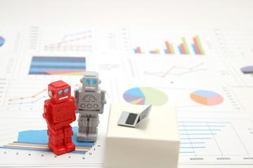 ロボットとパソコンとグラフ 人工知能イメージ