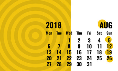august 2018 simple horizontal calendar with geometrical pattern