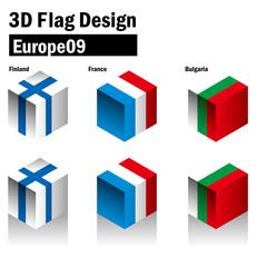 立体的な国旗のイラスト|フィンランド、ブルガリア、フランスの国旗|3Dフラッグ|国旗セット