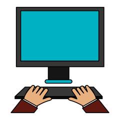 hands typing in keyboard desktop