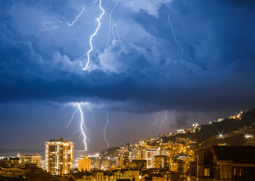 Thunderstorm over the city at night Budva in Montenegro