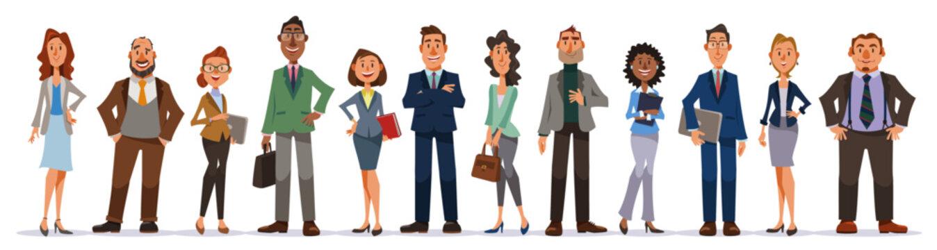 オフィスで働く人々のセット。男女の会社員たちが笑顔で立つ全身像。
