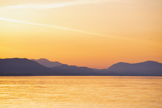 Shoreline of Vancouver Island at sunset from the Salish sea