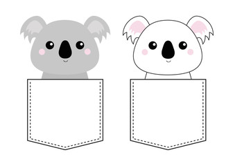 Koala bear set head face sitting in the pocket. Doodle linear sketch. Cute cartoon character. T-shirt design. Dash line. Pet animal. White gray color. Baby background. Flat design