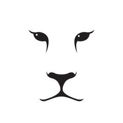 Puma muzzle silhouette. Wild animal emblem. Minimalist template design. Vector illustration.