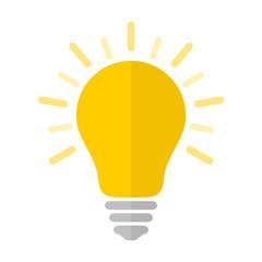 Flat light bulb icon with rays. Idea and creativity symbol.