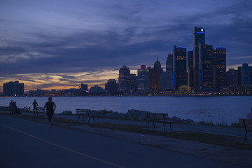 DETROIT, MI - SEPTEMBER 23, 2015: View of Detroit skyline with the world headquarters for General Motors Corporation, situated along the Detroit River.