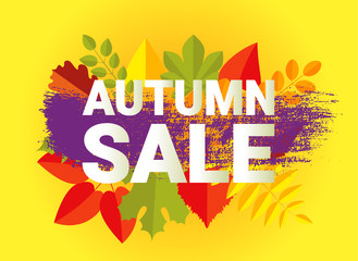 AUTUMN SALE banner typography design. Retro fall letters with flat style autumn leaves.