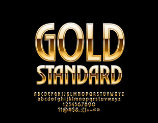Vector Luxury Emblem Gold Standard. Chic Alphabet Letters, Numbers and Symbols. Elite glossy Font