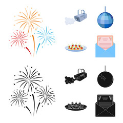A video camera with smoke, a twirling holiday ball, a plate of sandwiches, an envelope with a greeting card. Event services set collection icons in cartoon,black style vector symbol stock illustration
