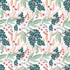 Seamless watercolor floral pattern.Flowers, berries on a white background.