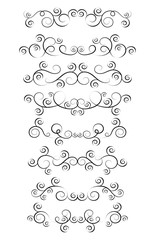 Set of curls and scrolls. Decorative divider elements for frames and books. Elegant swirl vector illustration.