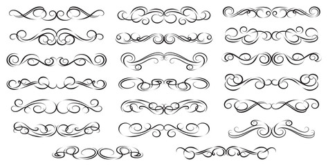 Calligraphic design elements. Swirls Vector Illustration.