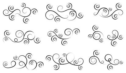 Set of simple curls and scrolls. Decorative divider elements for frames and books. Elegant swirl vector illustration.