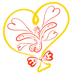 Yellow balloon in the shape of a heart with a fairy bird and hearts