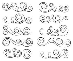 Swirls set. Decorative elements for frames. Elegant swirl vector illustration.