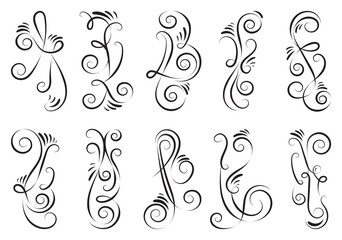 Black and elegant swirls collection. Set of curls and scrolls for wall decoration and tattoos. Vector illustration.