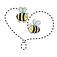 Two bees in love. Vector isolated illustration