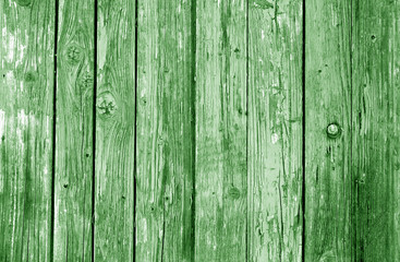 Old grunge wooden fence pattern in green tone.