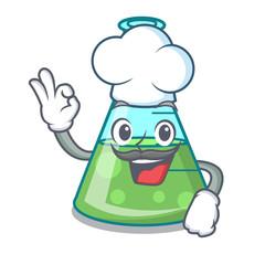 Chef science beaker character cartoon