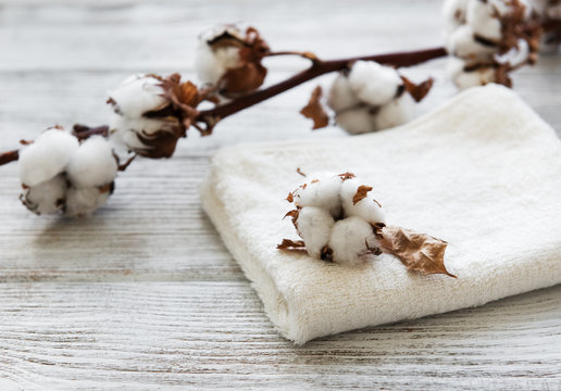 cotton flower and towel