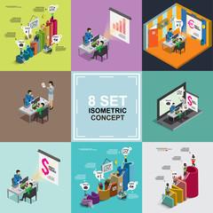 business success isometric set