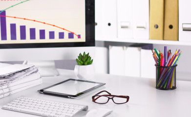 Workspace presentation mockup, Desktop computer and office supp