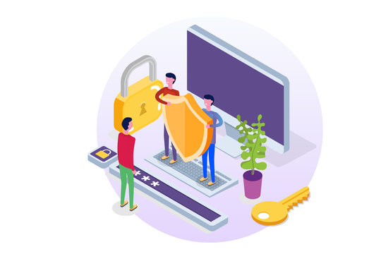 GDPR, Data Protection isometric concept, Network data, Internet security, Secure bank transaction.    Character Vector illustration.