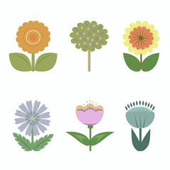 A set of images of different cute flowers. Vector illustration