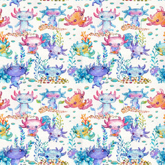 Watercolor cute axolotl characters for kid's design, pattern