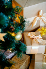 Spruce, balls, christmas, festive lights. Kraft Paper Gifts