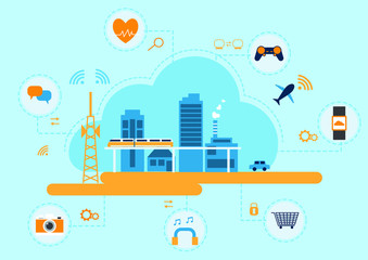 Internet of things concept , devices and connectivity icon . Vector illustration