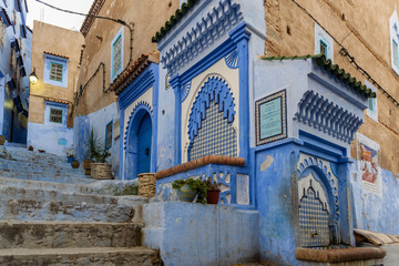 Street of Chefchaouen with two fountains