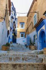 Street of Chefchaouen with blue door