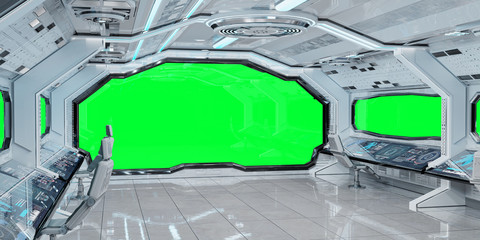 Wall Mural - White clean spaceship interior background 3D rendering