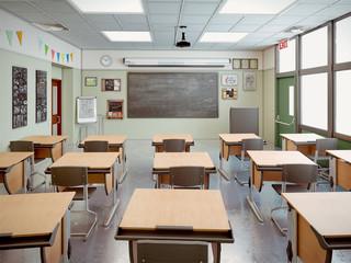 school classroom interior 3d illustration